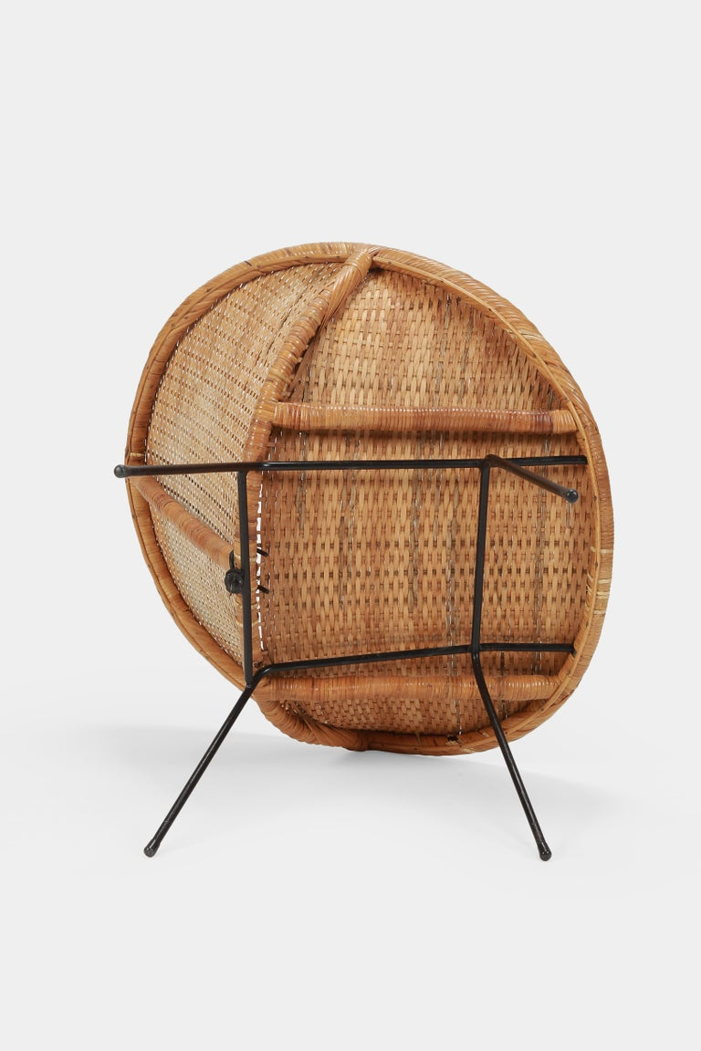 Round Rattan Circle Chair, 1950s For Sale 3