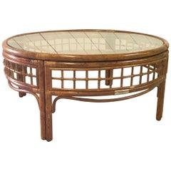 Round Rattan Midcentury Coffee Table