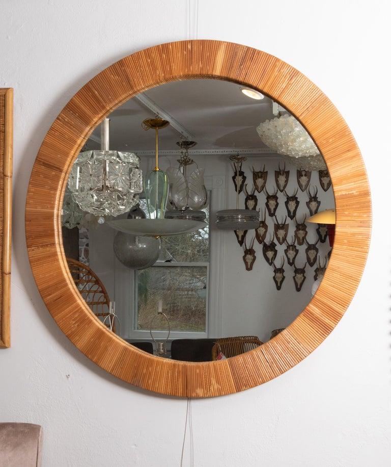 Mid-Century Modern Round Rattan Surround Mirror For Sale