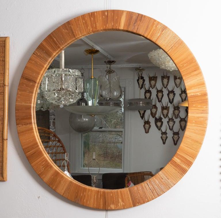 American Round Rattan Surround Mirror For Sale