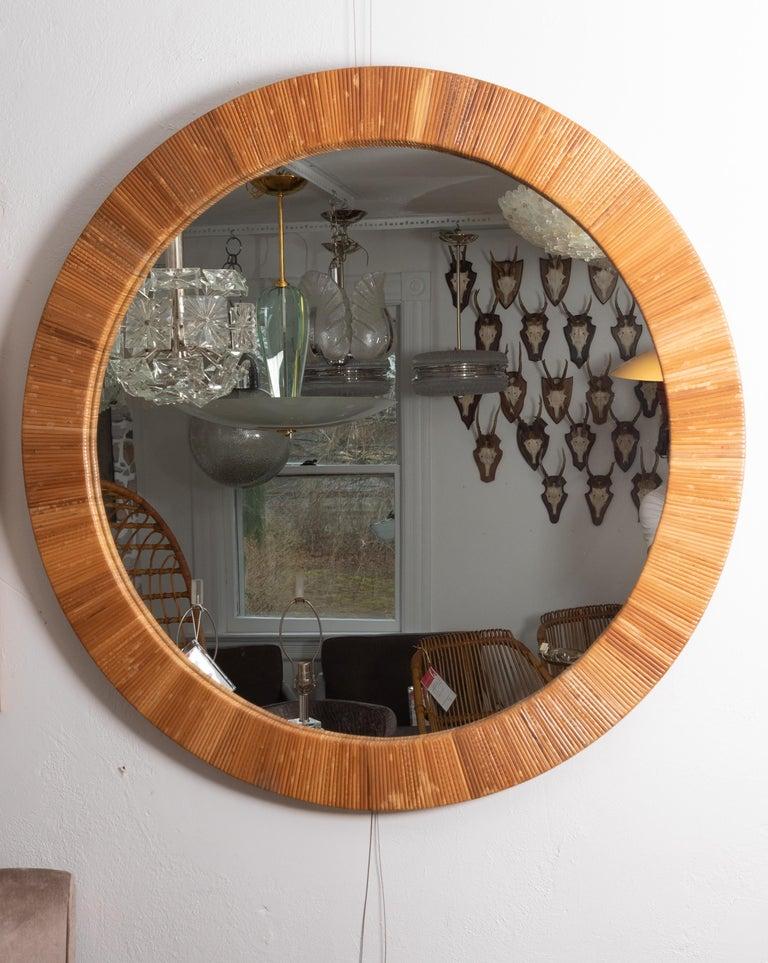Hand-Woven Round Rattan Surround Mirror For Sale