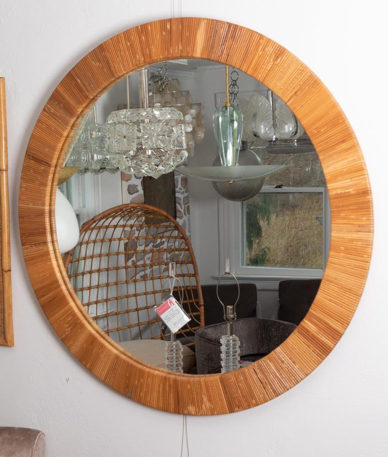 Round Rattan Surround Mirror In Good Condition For Sale In Bridgehampton, NY
