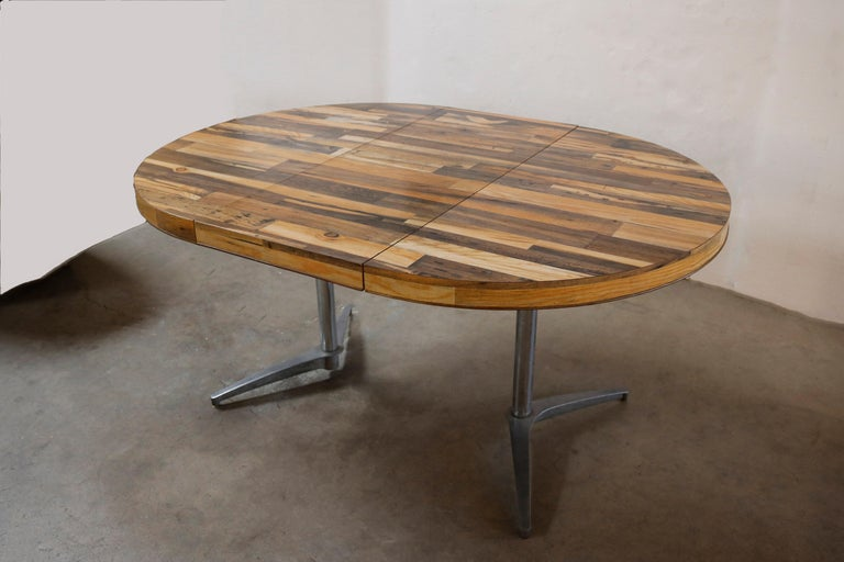 Mid-Century Modern Round Reclaimed Wood Extension Dining Table For Sale