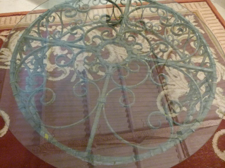 Round Recycled Coffee Table, Glass and Rough Iron For Sale 3