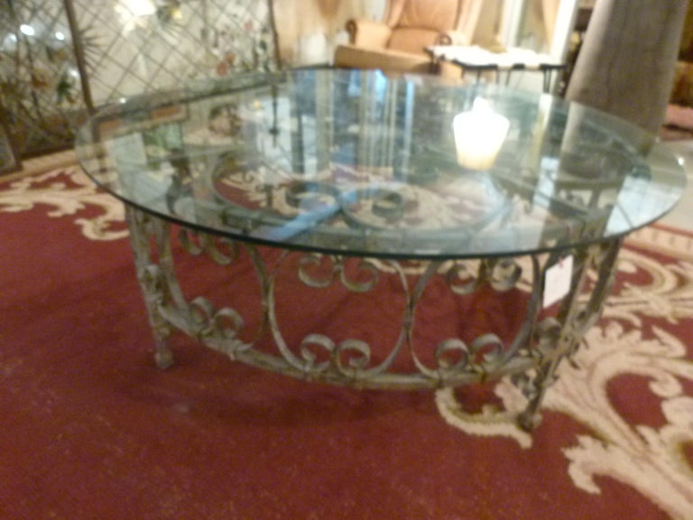 Spanish Round Recycled Coffee Table, Glass and Rough Iron For Sale