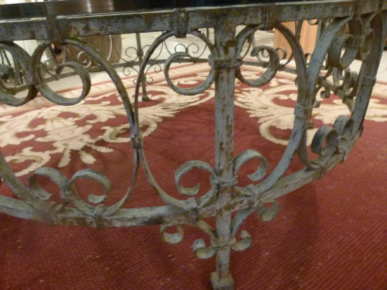 20th Century Round Recycled Coffee Table, Glass and Rough Iron For Sale