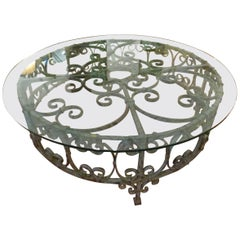 Round Recycled Coffee Table, Glass and Rough Iron