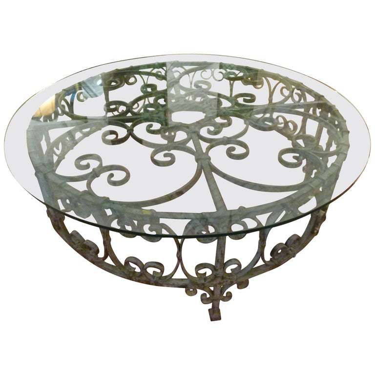 Round Recycled Coffee Table, Glass and Rough Iron For Sale