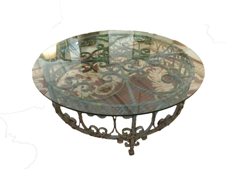 Country Round Recycled Coffee Table, Glass and Rough Iron For Sale