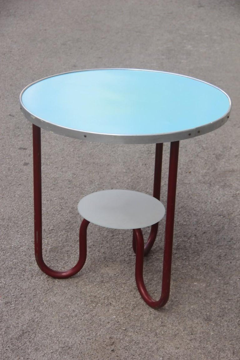 Round Red Blue Bauhaus Coffee Table By Marcel Breuer