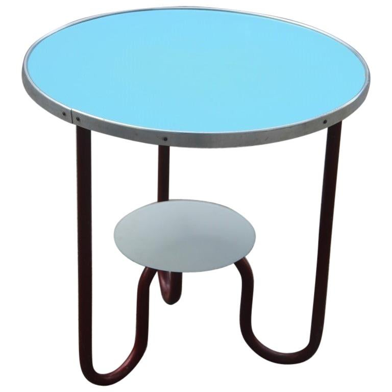Round Red Coffee Table: Round Red Blue Bauhaus Coffee Table By Marcel Breuer