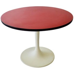 Round Red Top Tulip Base Dining Table by Maurice Burke for Arcana