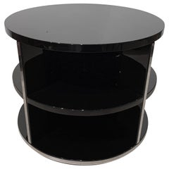 Round Restored Art Deco Sofa Table, Black Lacquer and Metal, France, circa 1930