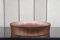 Round Ribbed Cachepot - Light Antique Copper, Hand Repousse