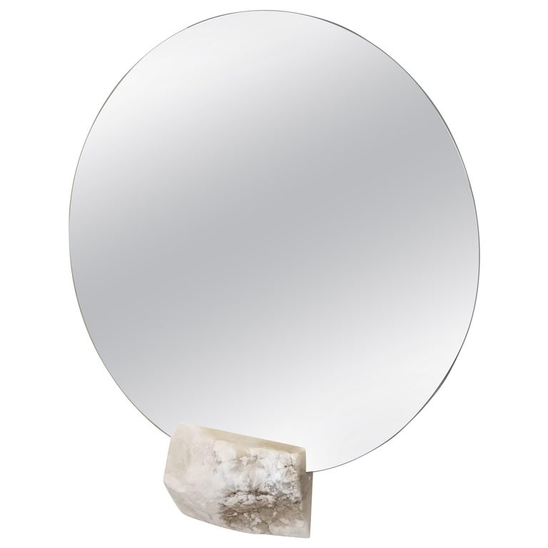 Round Ridge Mirror in with White Alabaster Off-Cut by Ordinal Indicator For Sale