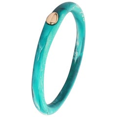 Round Rock Wishbone Bangle in Lagoon