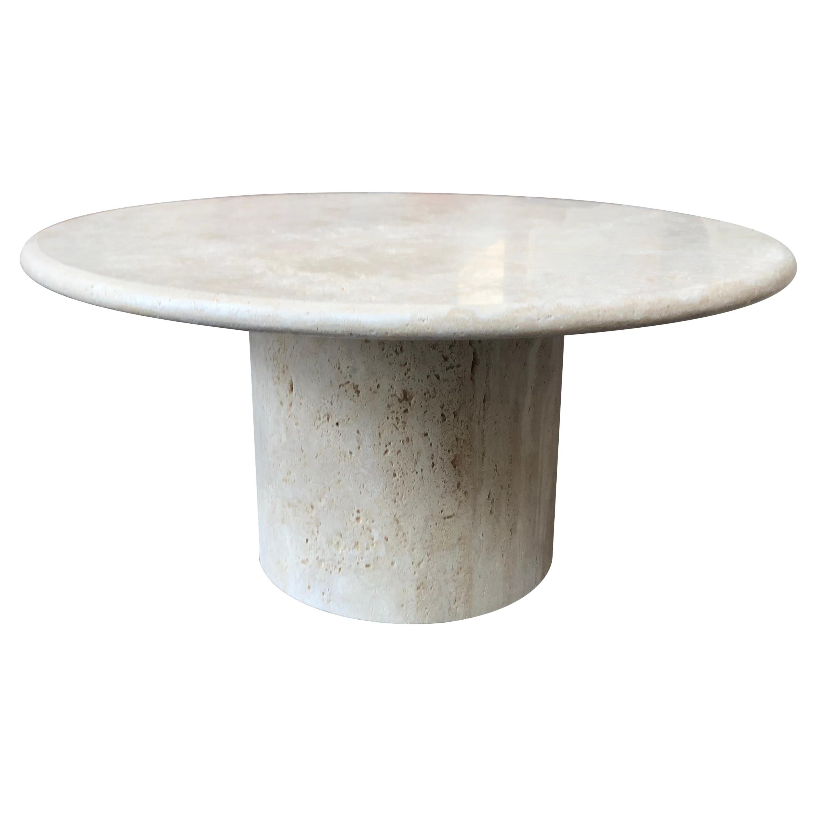 Round Roman Travertine Coffee Table by Le Lampade