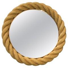 Round Rope Mirror Audoux Minet, circa 1960