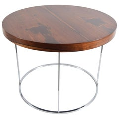 Round Rosewood and Chrome Lamp Table by Milo Baughman