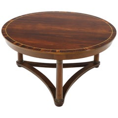 Round Rosewood Neoclassical Rosewood Banded Top Coffee Center Table