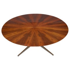 "84"" Round Rosewood Table by Florence Knoll for Knoll International 1960s, Signed"