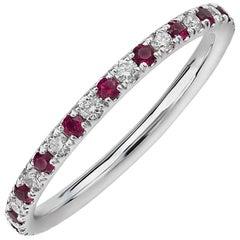 Round Ruby and Diamond Eternity Band 14 Karat White Gold
