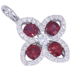 Ruby Diamond Flower Pendant 1.08 Carats 18K