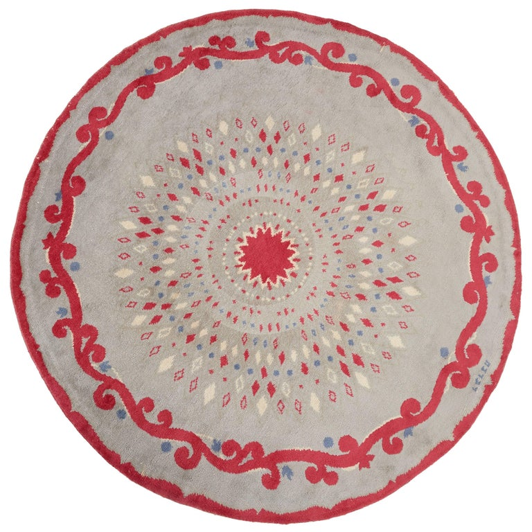 Round Rug by Paule Leleu, circa 1950 For Sale