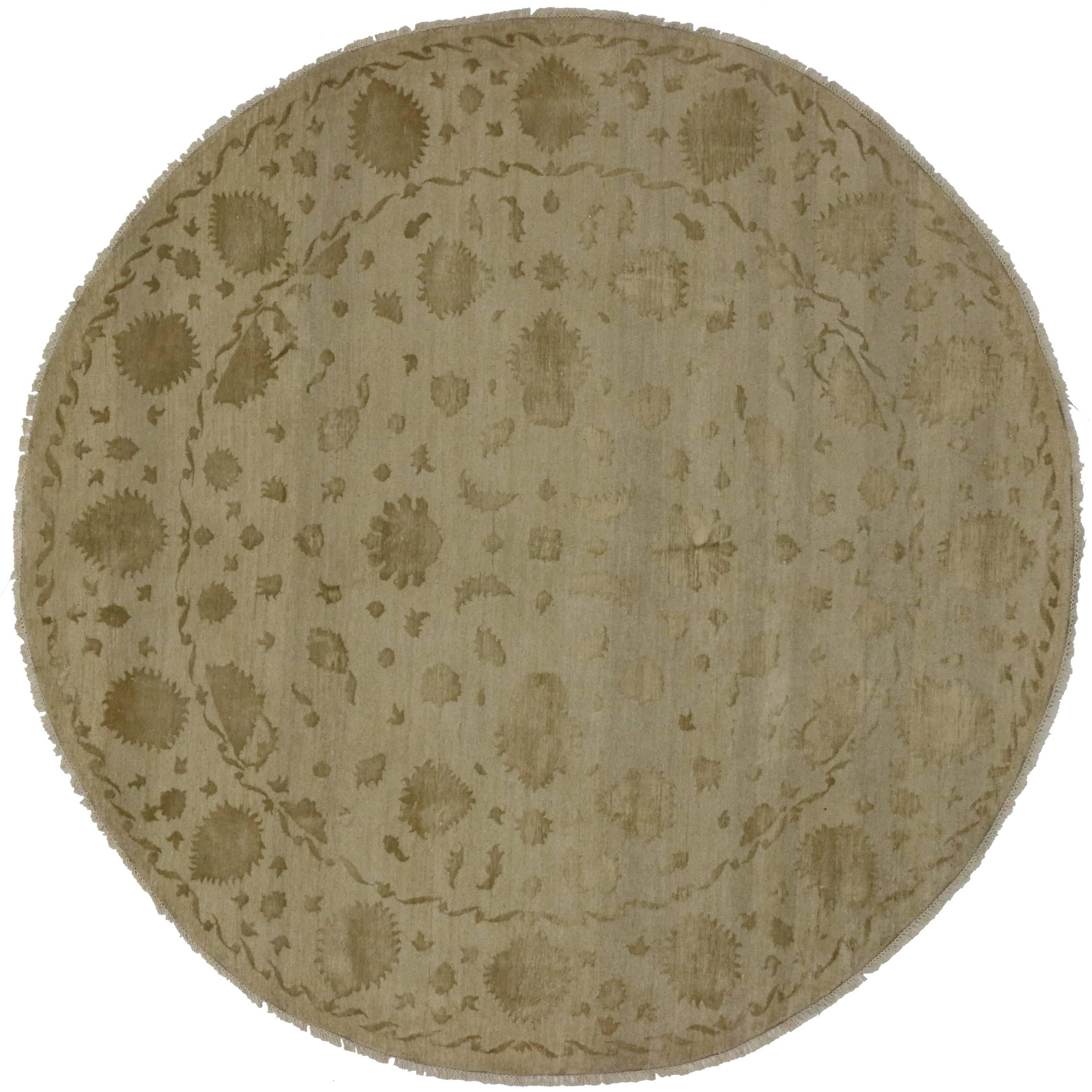 New Persian Style Round Area Rug with Traditional Style in Neutral Colors