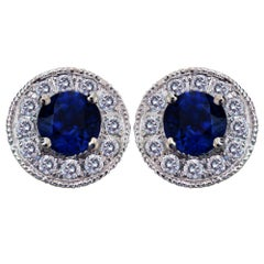 Round Sapphire and Diamond White Gold Stud Earrings