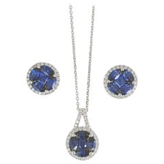 Round Sapphire Cluster in Diamond Halo Pendant and Earring Set