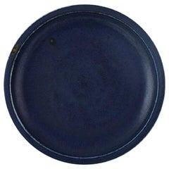 Round Saxbo Dish in Glazed Stoneware, Beautiful Glaze in Deep Blue Shades