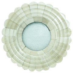 Round Scalloped Picture Frame in White Bone Inlaid