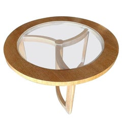 Round Scandinavian Spindle Coffee Table in Oak with Glass Top