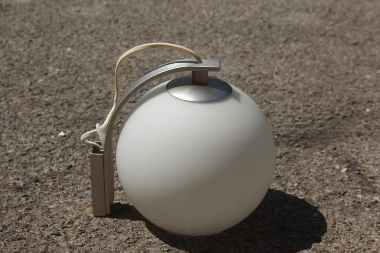 Round Sconce White Color Glass  Aluminum Italian Design 1990 In Excellent Condition For Sale In Palermo, Sicily