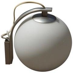 Round Sconce White Color Glass  Aluminum Italian Design 1990