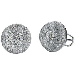 Round Sculptural Diamond Pave Earrings