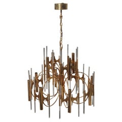 Round Sculptural Sciolari Chandelier Italian Design Gold-Plated Crystal, 1960
