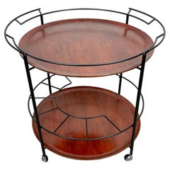 Round Serving Cart Tray in Teak and Black Metal, Italy, 1960s