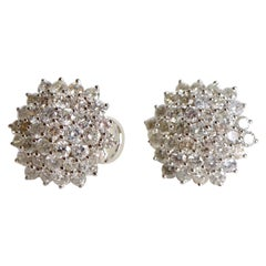 Round Shape Clip Earrings in 18 Carat White Gold with 5.8 Carat of Diamonds