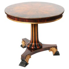 Round Shape Marquetry Top Pedestal Center Table
