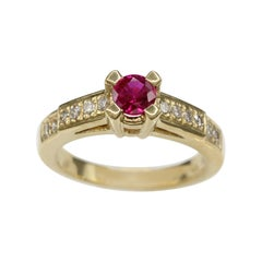 Round Shape Ruby 0.50 Carat Ring 18 Karat Yellow Gold with Diamonds