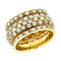 Round Shape White Diamond Ring in 18 Karat Yellow Gold