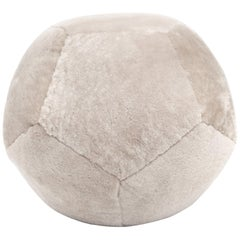 Round Shearling Ottoman X in Dune Sheepskin by Moses Nadel