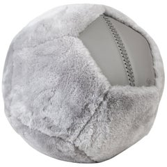Round Shearling Ottoman X in Grey Sheepskin by Moses Nadel