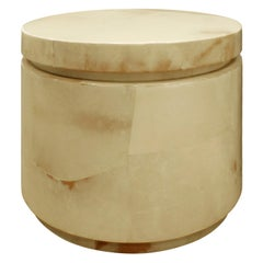 Karl Springer Round Side Table in Lacquered Goatskin, 1970s