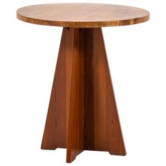 Round Side Table in Oregon Pine and Elm