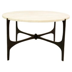 Round Side Table with Marble Top and Black Metal Structure