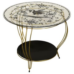 Round Side Table with Phoenix Bird Motive