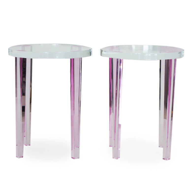 Modern Round Side Tables in Pink Lucite For Sale
